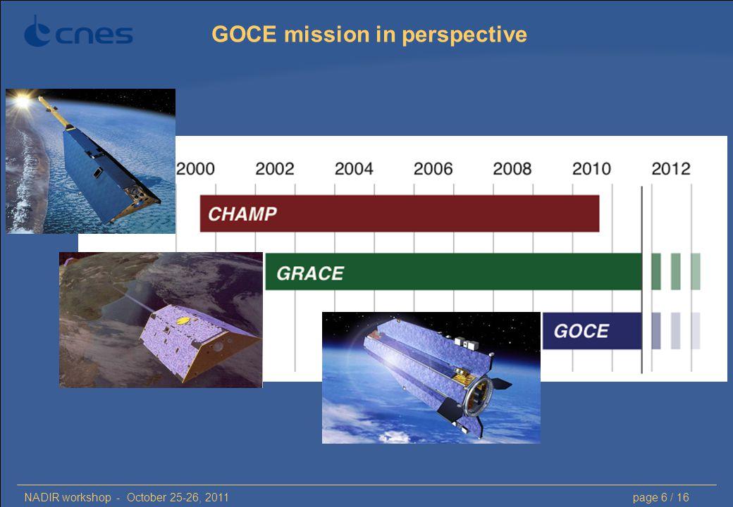 NADIR workshop - October 25-26, 2011page 6 / 16 GOCE mission in perspective