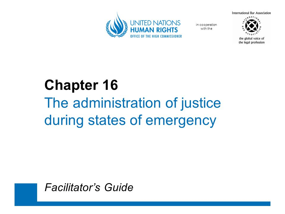in cooperation with the Chapter 16 The administration of justice during states of emergency Facilitator's Guide
