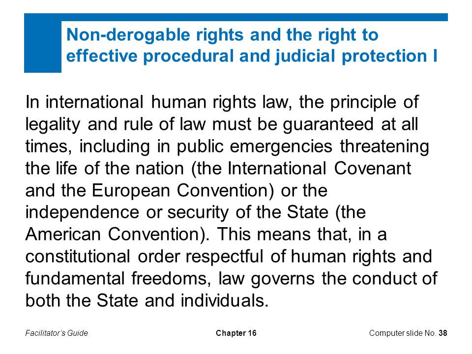 Facilitator's GuideChapter 16 Non-derogable rights and the right to effective procedural and judicial protection I Computer slide No. 38 In internatio
