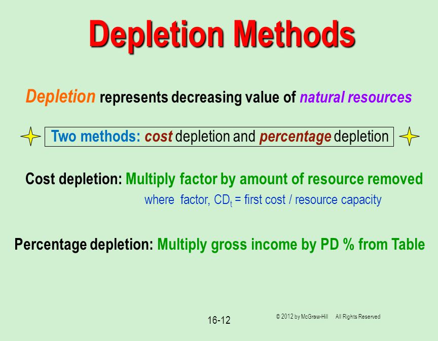 16-12 © 2012 by McGraw-Hill All Rights Reserved Depletion Methods Depletion represents decreasing value of natural resources Two methods: cost depletion and percentage depletion Cost depletion: Multiply factor by amount of resource removed where factor, CD t = first cost / resource capacity Percentage depletion: Multiply gross income by PD % from Table