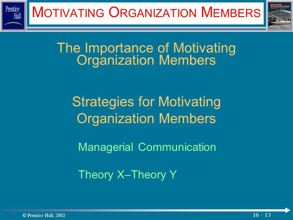 © Prentice Hall, 2002 16 - 13 M OTIVATING O RGANIZATION M EMBERS The Importance of Motivating Organization Members Strategies for Motivating Organization Members Managerial Communication Theory X–Theory Y.