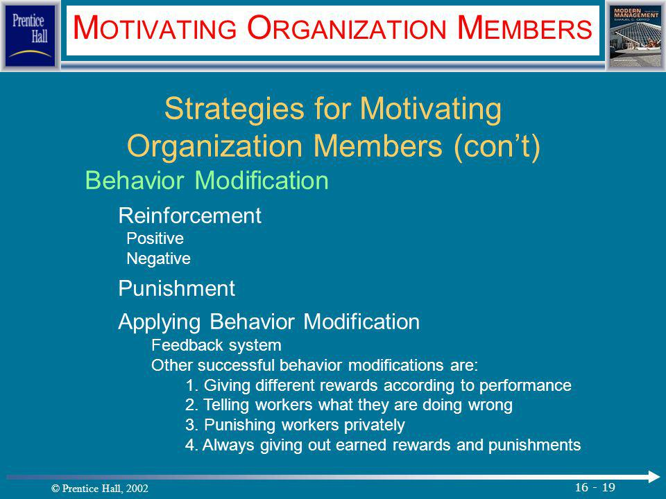 © Prentice Hall, 2002 16 - 19 M OTIVATING O RGANIZATION M EMBERS Strategies for Motivating Organization Members (con't) Behavior Modification Reinforcement Positive Negative Punishment Applying Behavior Modification Feedback system Other successful behavior modifications are: 1.
