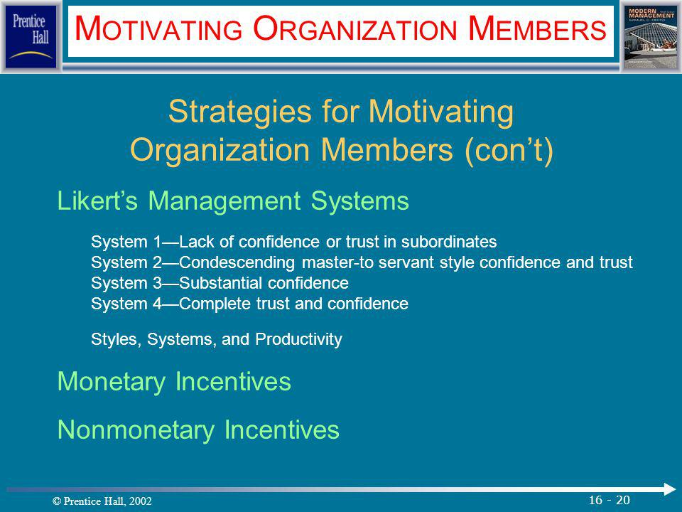 © Prentice Hall, 2002 16 - 20 M OTIVATING O RGANIZATION M EMBERS Strategies for Motivating Organization Members (con't) Likert's Management Systems System 1—Lack of confidence or trust in subordinates System 2—Condescending master-to servant style confidence and trust System 3—Substantial confidence System 4—Complete trust and confidence Styles, Systems, and Productivity Monetary Incentives Nonmonetary Incentives.