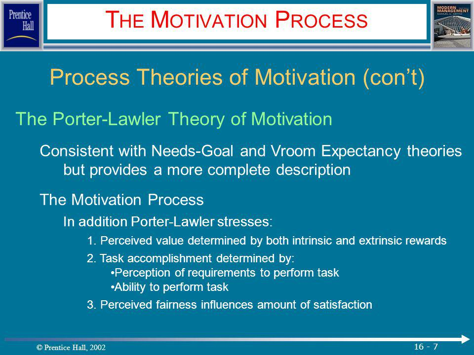 © Prentice Hall, 2002 16 - 7 T HE M OTIVATION P ROCESS Process Theories of Motivation (con't) The Porter-Lawler Theory of Motivation Consistent with Needs-Goal and Vroom Expectancy theories but provides a more complete description The Motivation Process In addition Porter-Lawler stresses: 1.