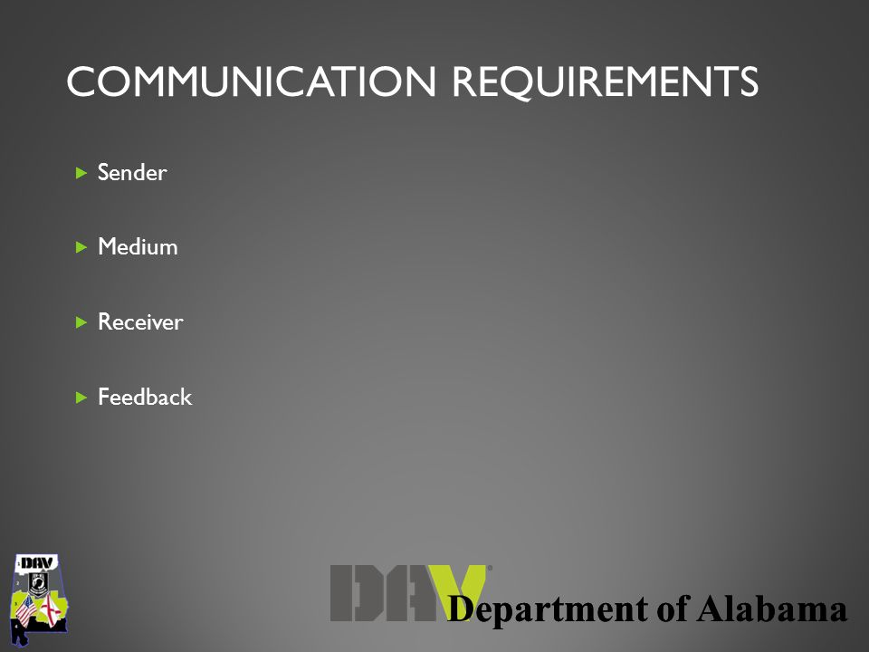 Department of Alabama COMMUNICATION REQUIREMENTS  Sender  Medium  Receiver  Feedback