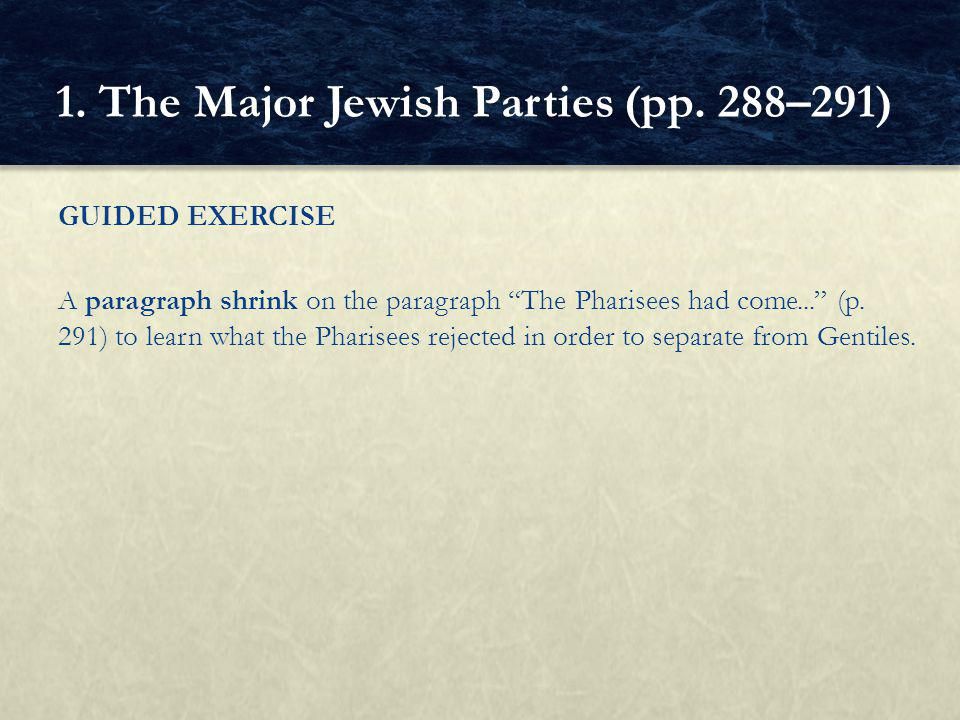 GUIDED EXERCISE A paragraph shrink on the paragraph The Pharisees had come... (p.