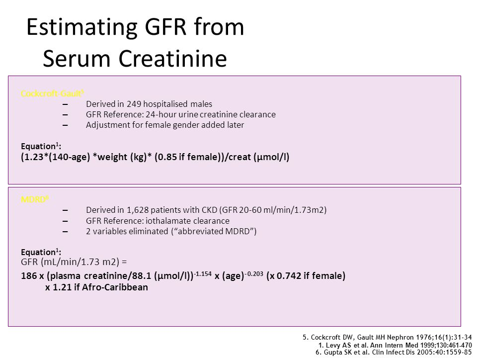 6. Gupta SK et al. Clin Infect Dis 2005:40:1559-85 Cockcroft-Gault 5 – Derived in 249 hospitalised males – GFR Reference: 24-hour urine creatinine cle