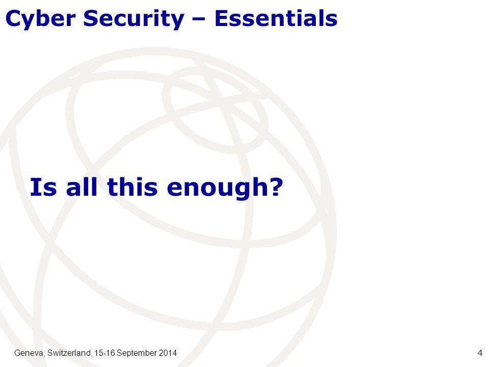Geneva, Switzerland, 15-16 September 2014 15 CompletedUpdates in ProcessPotential New Work Ed.