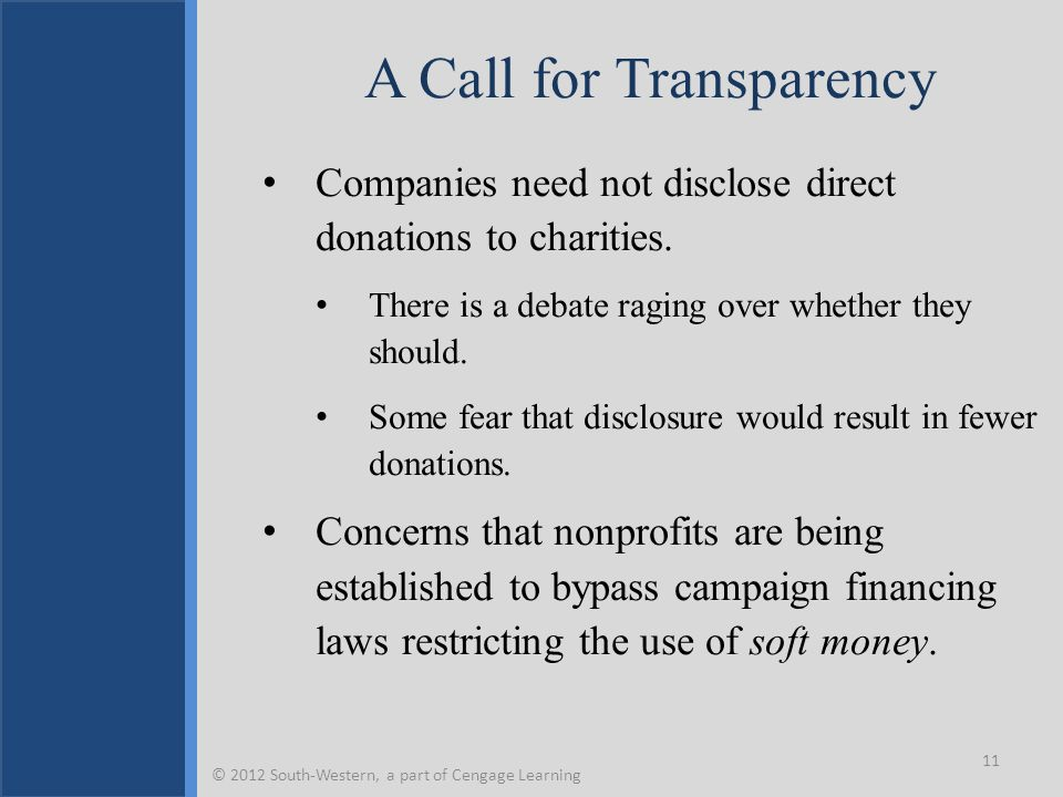 A Call for Transparency Companies need not disclose direct donations to charities. There is a debate raging over whether they should. Some fear that d