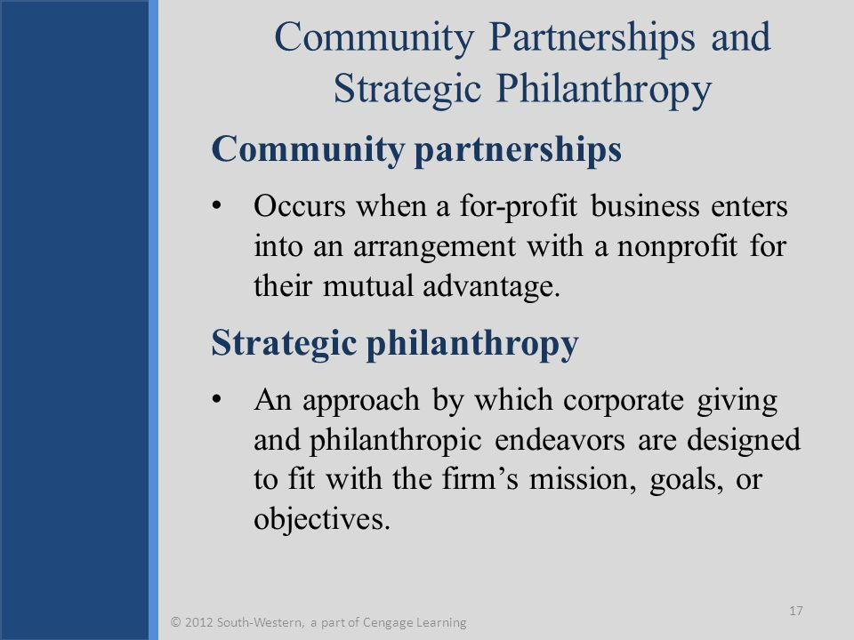 Community Partnerships and Strategic Philanthropy Community partnerships Occurs when a for-profit business enters into an arrangement with a nonprofit