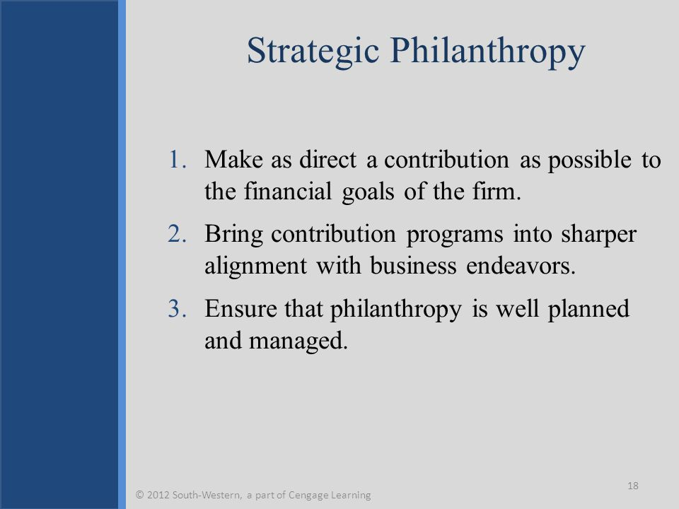 Strategic Philanthropy 1.Make as direct a contribution as possible to the financial goals of the firm. 2.Bring contribution programs into sharper alig