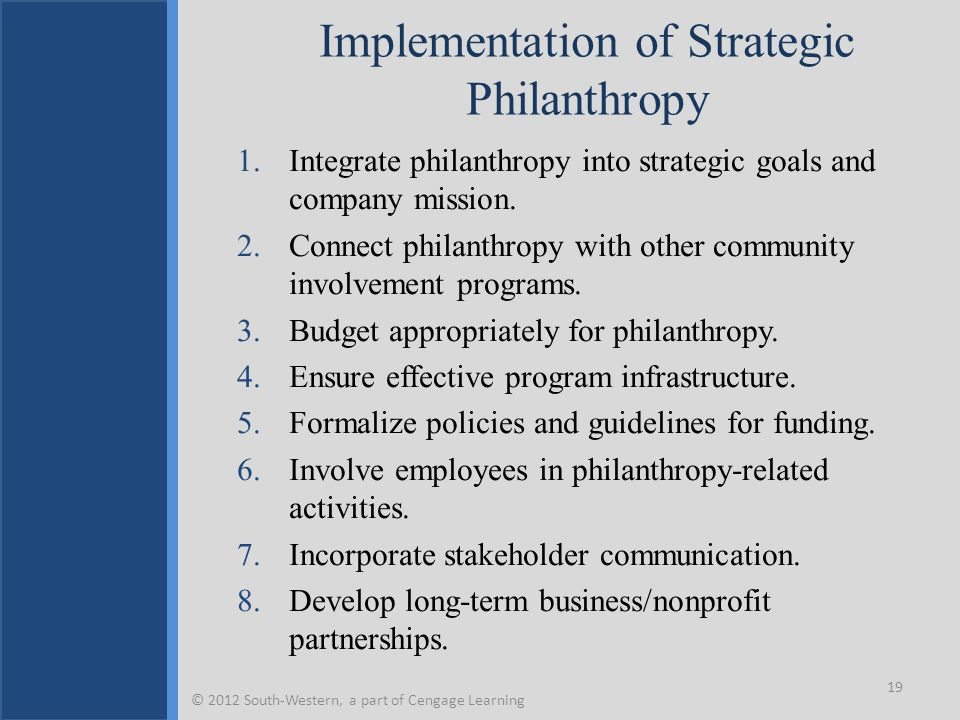 Implementation of Strategic Philanthropy 1.Integrate philanthropy into strategic goals and company mission. 2.Connect philanthropy with other communit