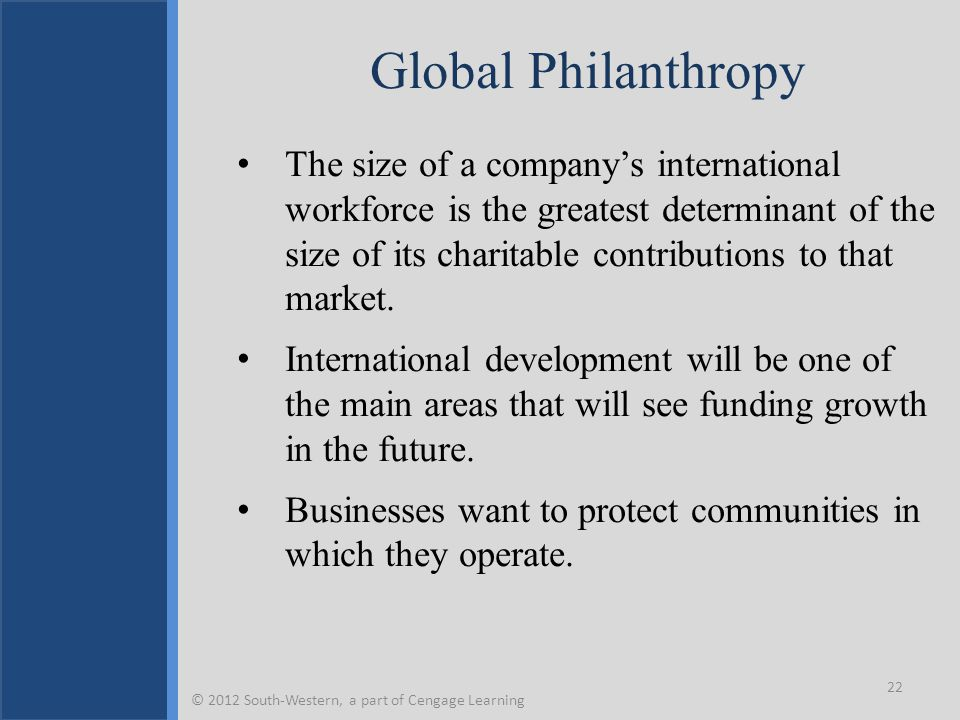 Global Philanthropy The size of a company's international workforce is the greatest determinant of the size of its charitable contributions to that ma