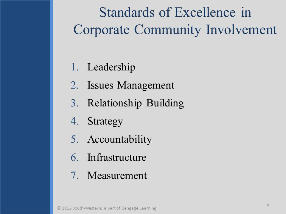 Standards of Excellence in Corporate Community Involvement 1.Leadership 2.Issues Management 3.Relationship Building 4.Strategy 5.Accountability 6.Infr