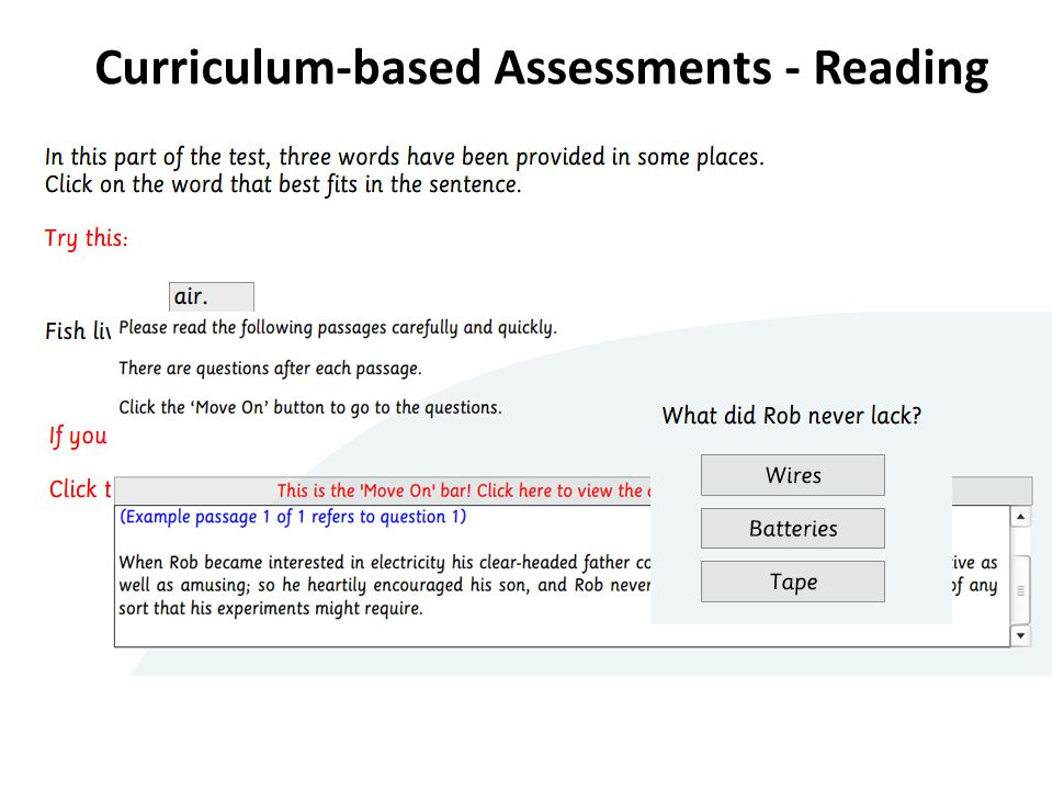 S2 Curriculum Assessment Curriculum-based Assessments - Reading