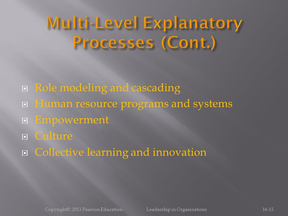  Role modeling and cascading  Human resource programs and systems  Empowerment  Culture  Collective learning and innovation Copyright© 2013 Pearson Education Leadership in Organizations16-15