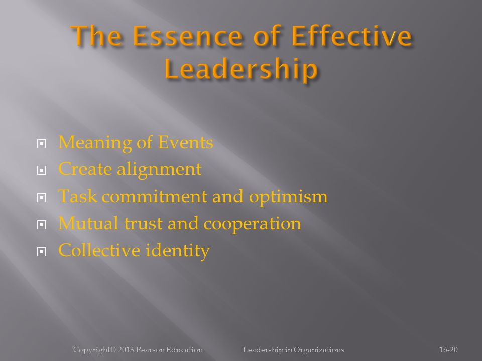  Meaning of Events  Create alignment  Task commitment and optimism  Mutual trust and cooperation  Collective identity Copyright© 2013 Pearson Education Leadership in Organizations16-20