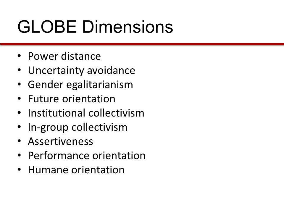 GLOBE Dimensions Power distance Uncertainty avoidance Gender egalitarianism Future orientation Institutional collectivism In-group collectivism Assert
