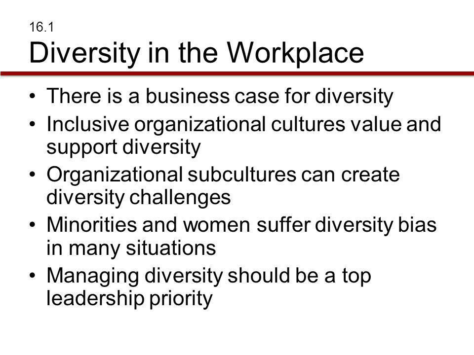 DIVERSITY IN THE WORKPLACE Business and Diversity Diversity –Race, gender, age and many other individual differences Inclusivity –Degree to which an organization is open to any one who can perform a job regardless of race, gender, age or any other individual difference