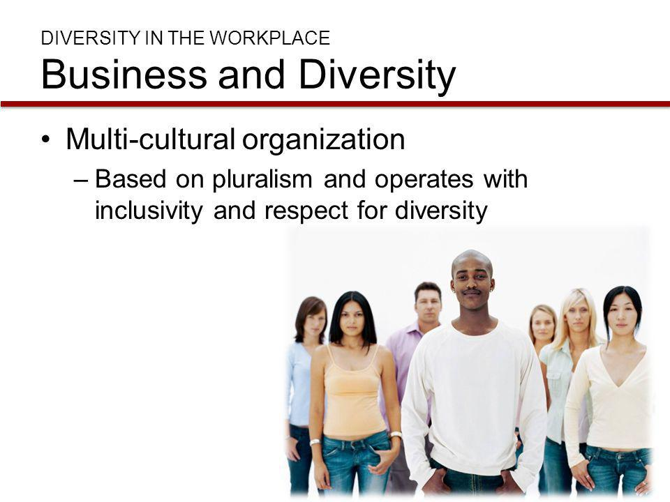 DIVERSITY IN THE WORKPLACE Business and Diversity Organizational subcultures –Groups that share interests or characteristics Occupations Ethnicity Religion Gender Generations