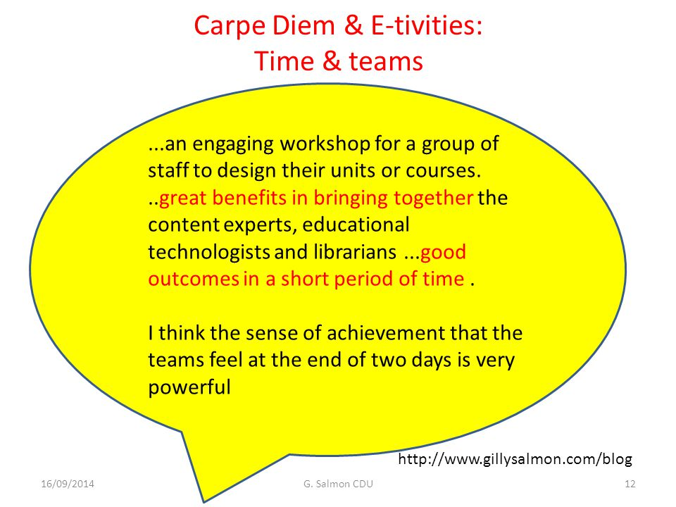 Carpe Diem & E-tivities: Time & teams 16/09/2014G.
