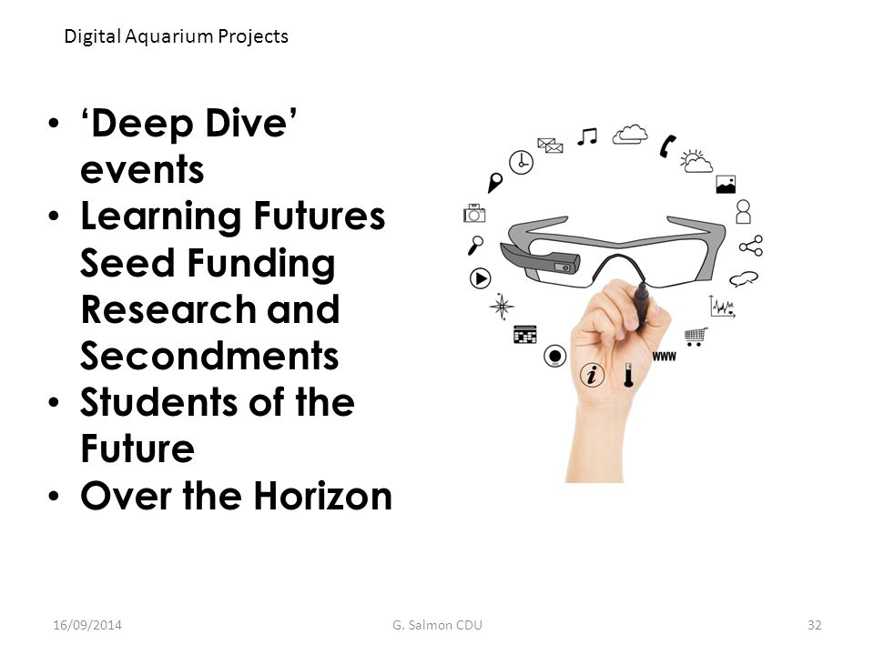 'Deep Dive' events Learning Futures Seed Funding Research and Secondments Students of the Future Over the Horizon Digital Aquarium Projects 16/09/2014G.