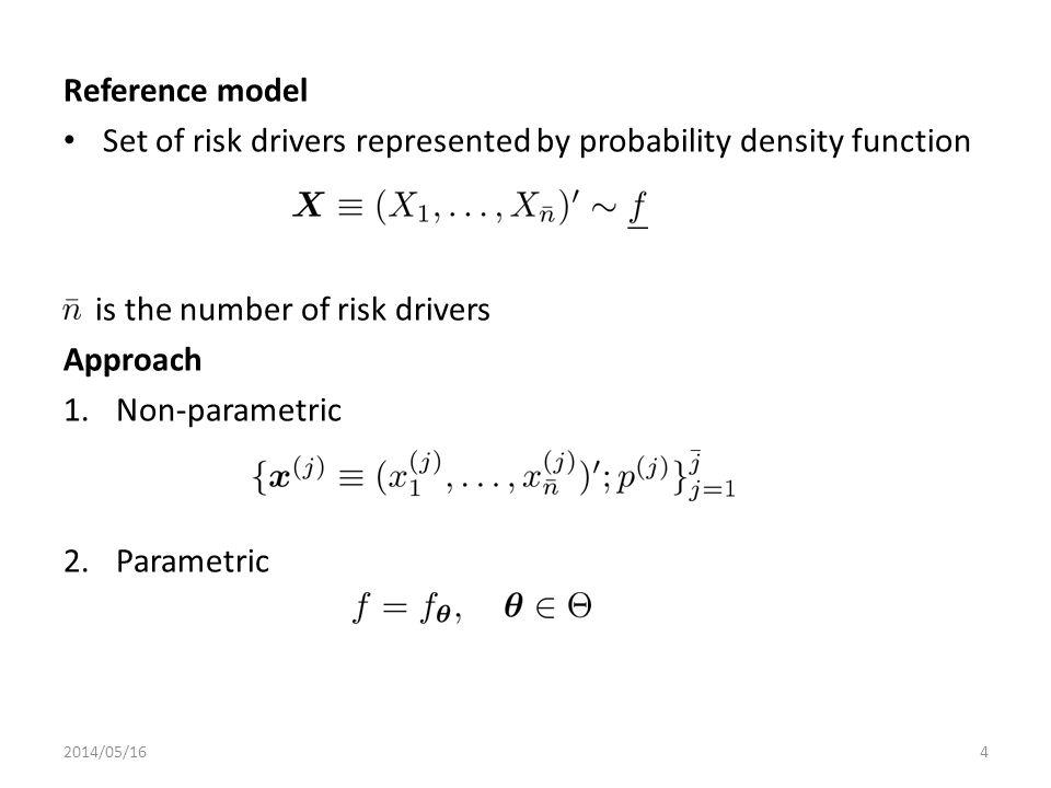 Entropy pooling Framework: 1.Prior distribution 2.Views 3.Posterior distribution Relative entropy (target function) 2014/05/165