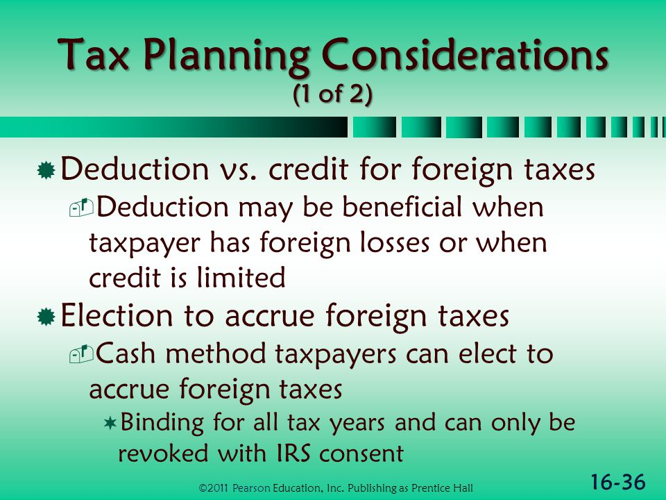 16-36 Tax Planning Considerations (1 of 2)  Deduction vs.