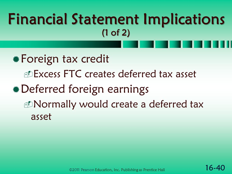 16-40 Financial Statement Implications (1 of 2)  Foreign tax credit  Excess FTC creates deferred tax asset  Deferred foreign earnings  Normally would create a deferred tax asset ©2011 Pearson Education, Inc.