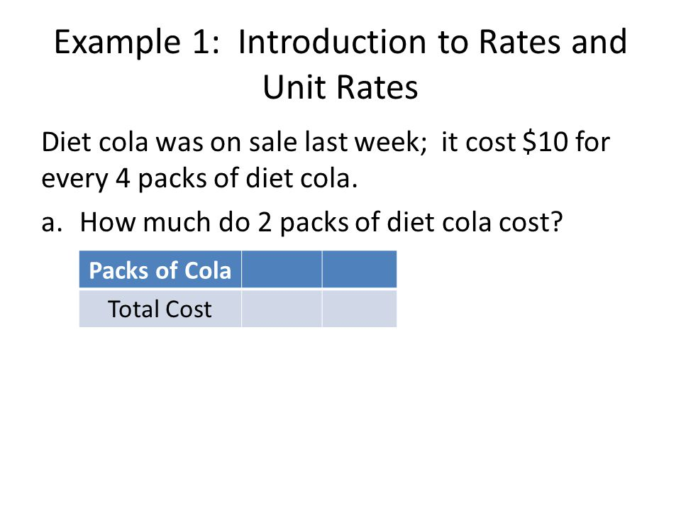 Example 1: Introduction to Rates and Unit Rates Diet cola was on sale last week; it cost $10 for every 4 packs of diet cola.