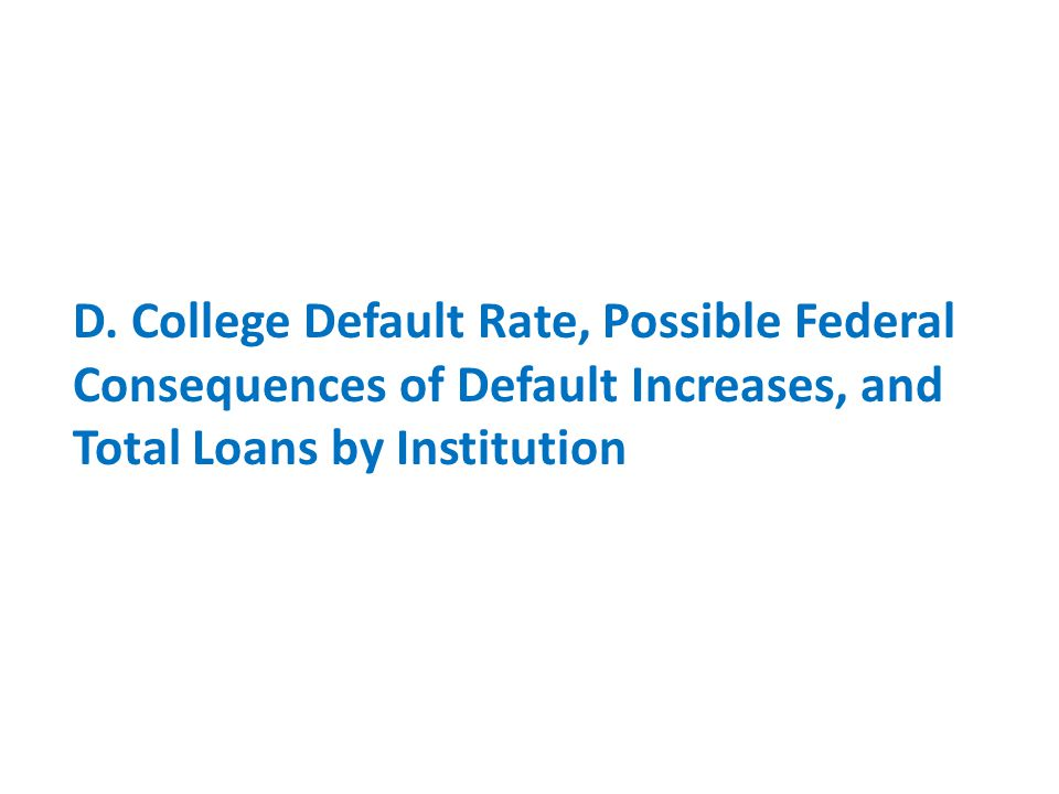 D. College Default Rate, Possible Federal Consequences of Default Increases, and Total Loans by Institution