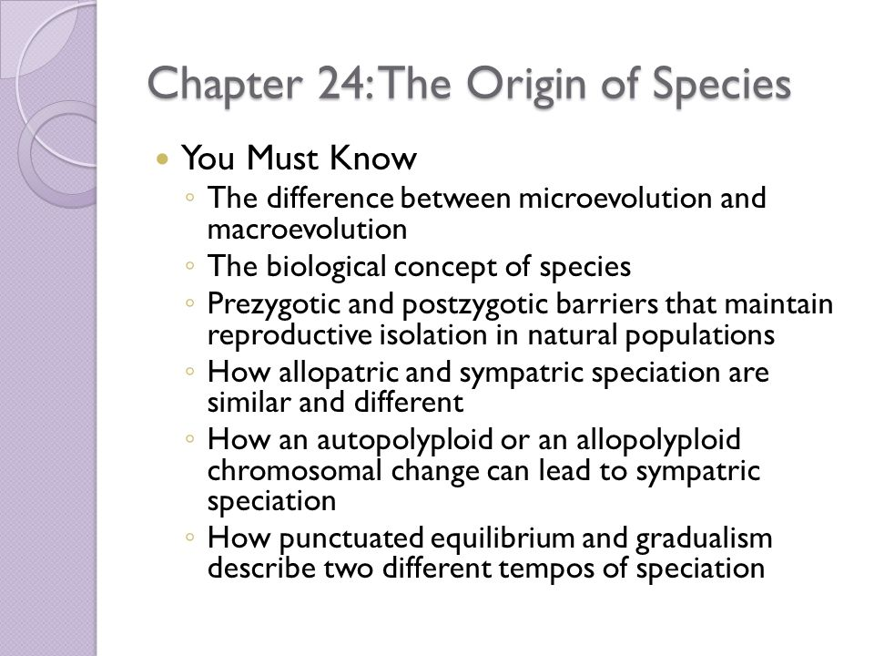 Chapter 24: The Origin of Species You Must Know ◦ The difference between microevolution and macroevolution ◦ The biological concept of species ◦ Prezygotic and postzygotic barriers that maintain reproductive isolation in natural populations ◦ How allopatric and sympatric speciation are similar and different ◦ How an autopolyploid or an allopolyploid chromosomal change can lead to sympatric speciation ◦ How punctuated equilibrium and gradualism describe two different tempos of speciation