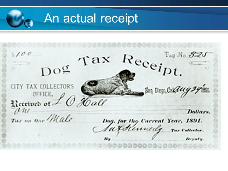 An actual receipt