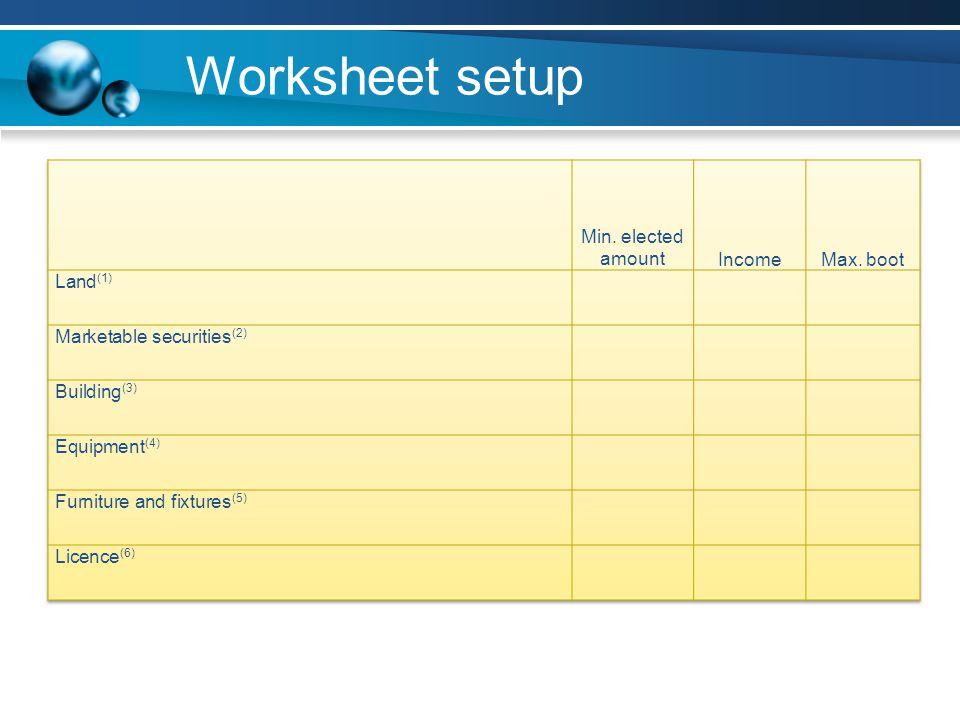 Worksheet setup