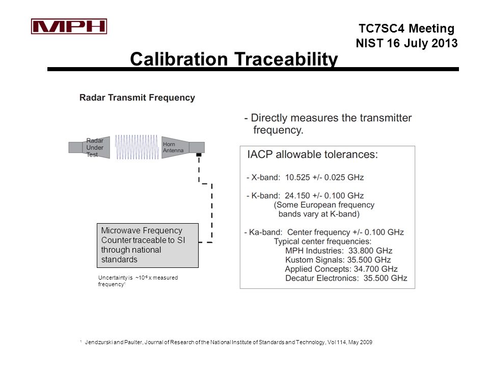 TC7SC4 Meeting NIST 16 July 2013 Calibration Traceability Microwave Frequency Counter traceable to SI through national standards Uncertainty is ~10 -5 x measured frequency 1 1 Jendzurski and Paulter, Journal of Research of the National Institute of Standards and Technology, Vol 114, May 2009