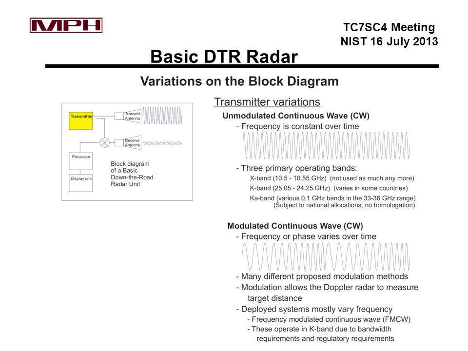 TC7SC4 Meeting NIST 16 July 2013 Basic DTR Radar