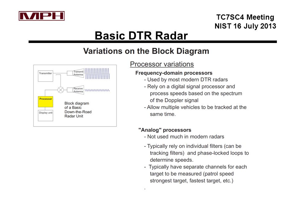 TC7SC4 Meeting NIST 16 July 2013 Basic DTR Radar