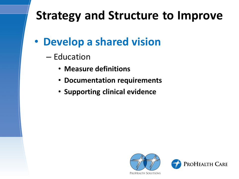 Strategy and Structure to Improve Develop a shared vision – Education Measure definitions Documentation requirements Supporting clinical evidence