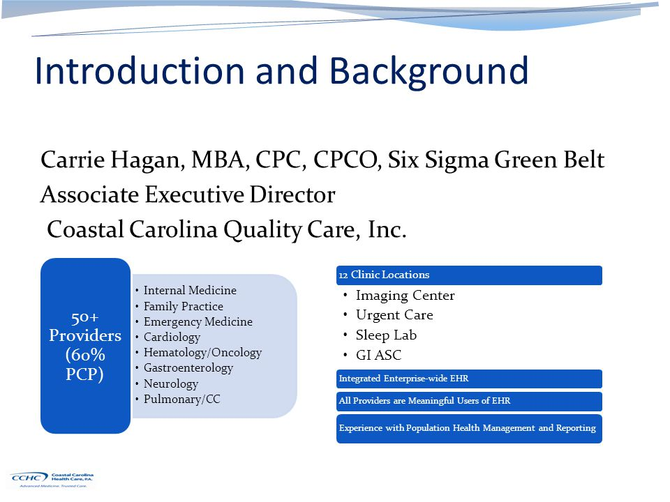 Introduction and Background Carrie Hagan, MBA, CPC, CPCO, Six Sigma Green Belt Associate Executive Director Coastal Carolina Quality Care, Inc.