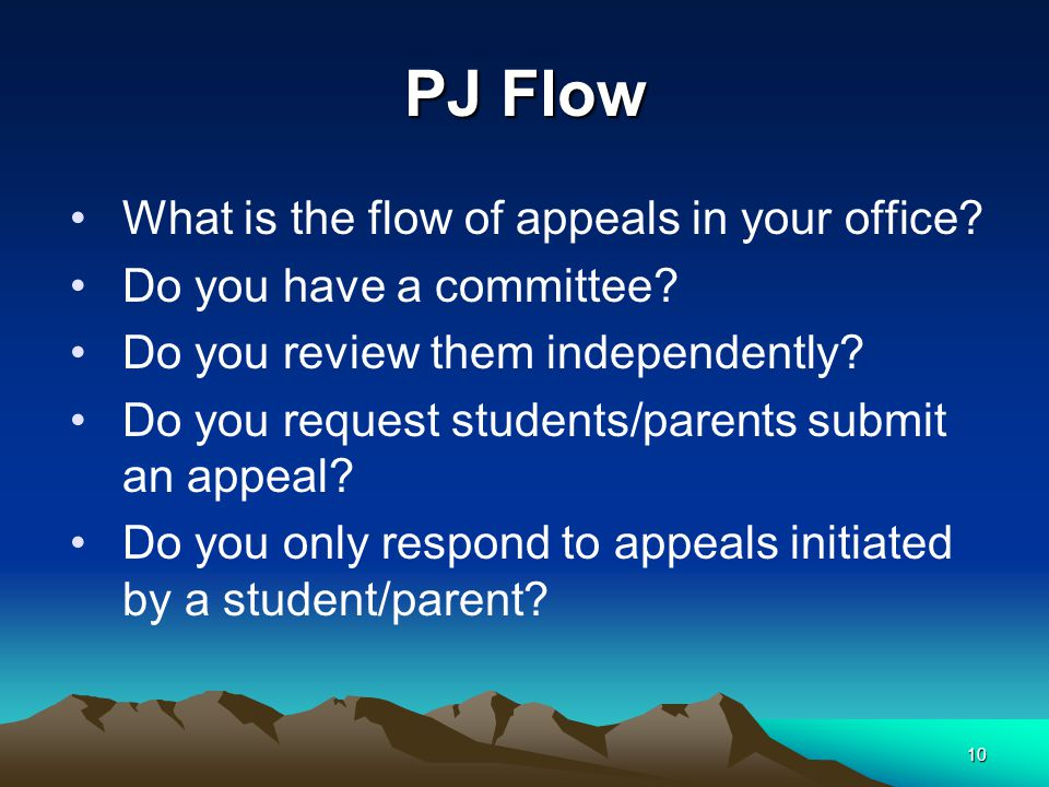 PJ Flow What is the flow of appeals in your office? Do you have a committee? Do you review them independently? Do you request students/parents submit