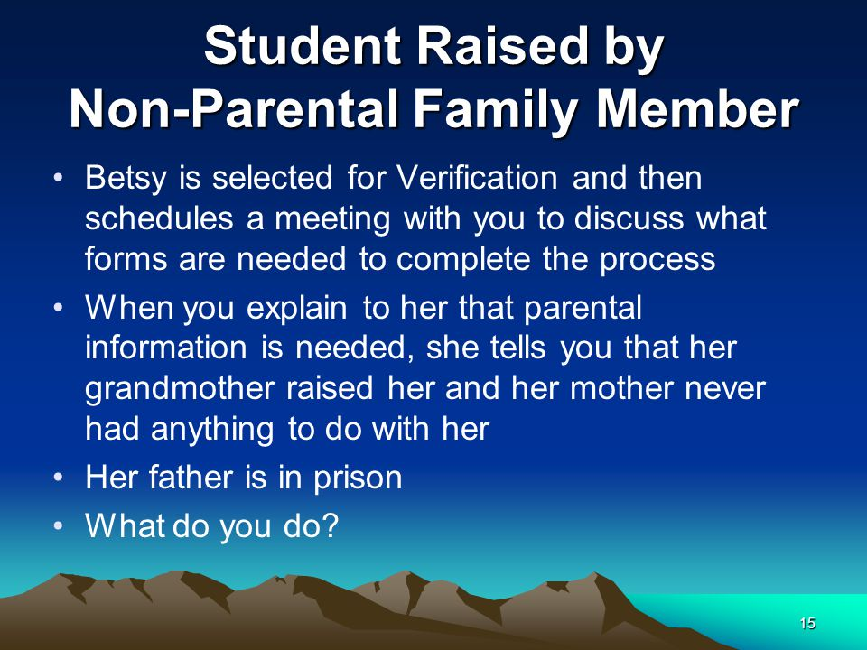 Student Raised by Non-Parental Family Member Betsy is selected for Verification and then schedules a meeting with you to discuss what forms are needed
