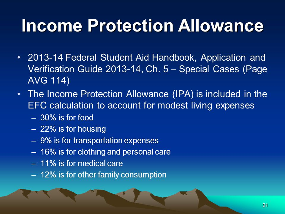 Income Protection Allowance 2013-14 Federal Student Aid Handbook, Application and Verification Guide 2013-14, Ch. 5 – Special Cases (Page AVG 114) The