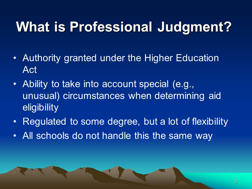 3 What is Professional Judgment.
