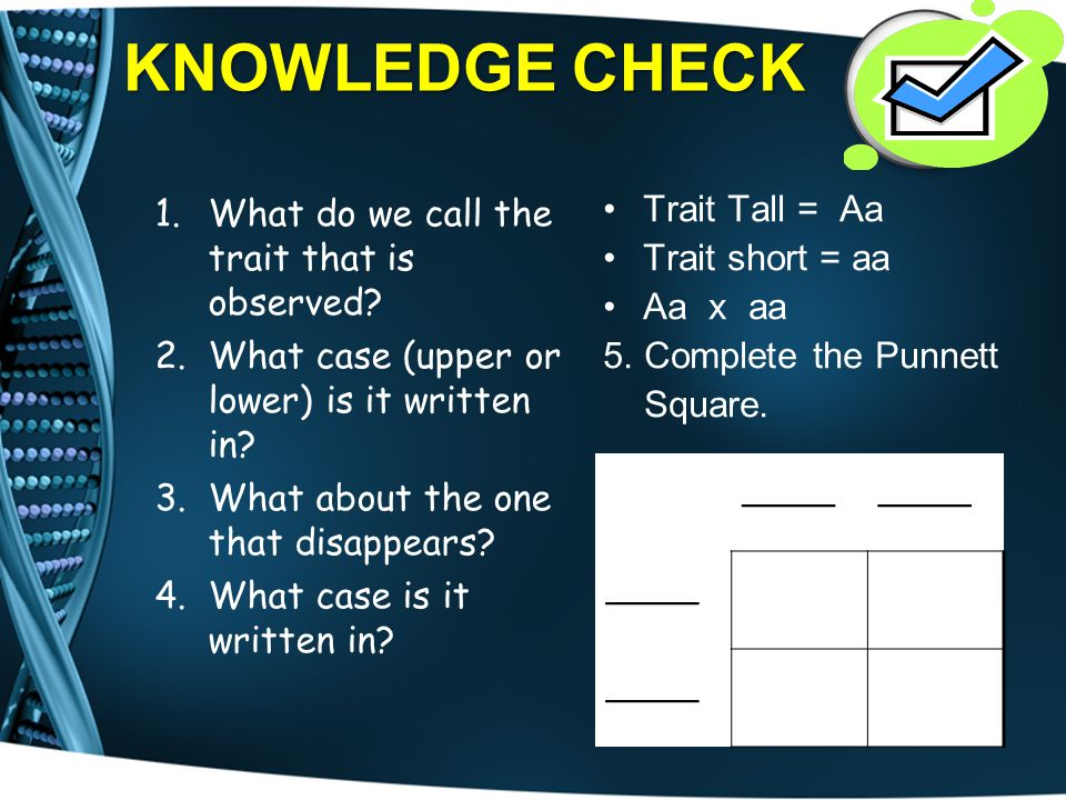 KNOWLEDGE CHECK 1.What do we call the trait that is observed? 2.What case (upper or lower) is it written in? 3.What about the one that disappears? 4.W