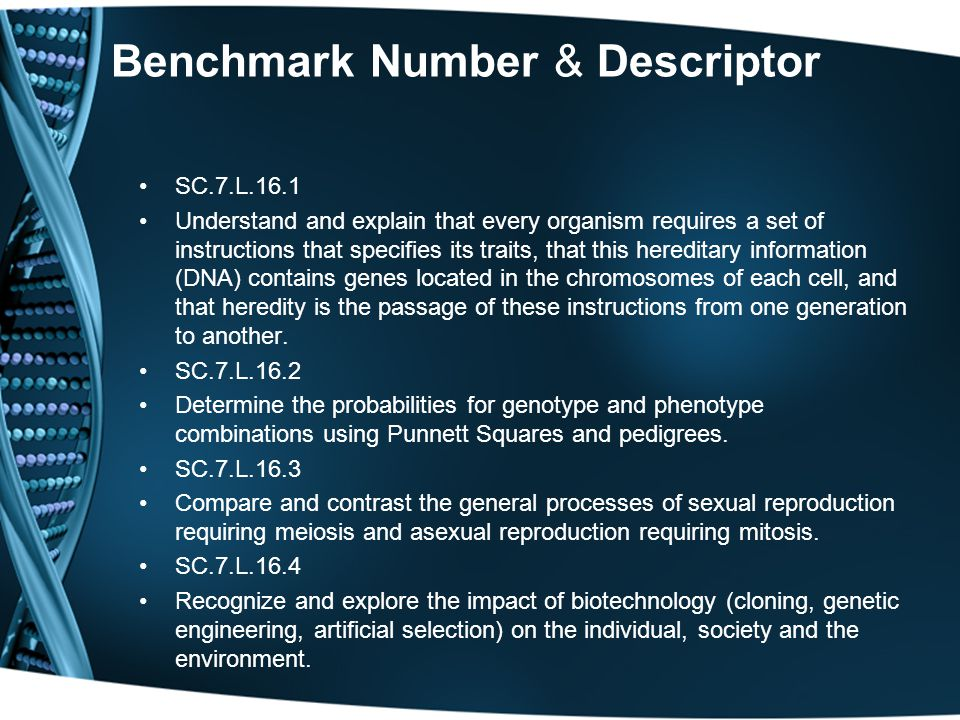 Benchmark Number & Descriptor SC.7.L.16.1 Understand and explain that every organism requires a set of instructions that specifies its traits, that th