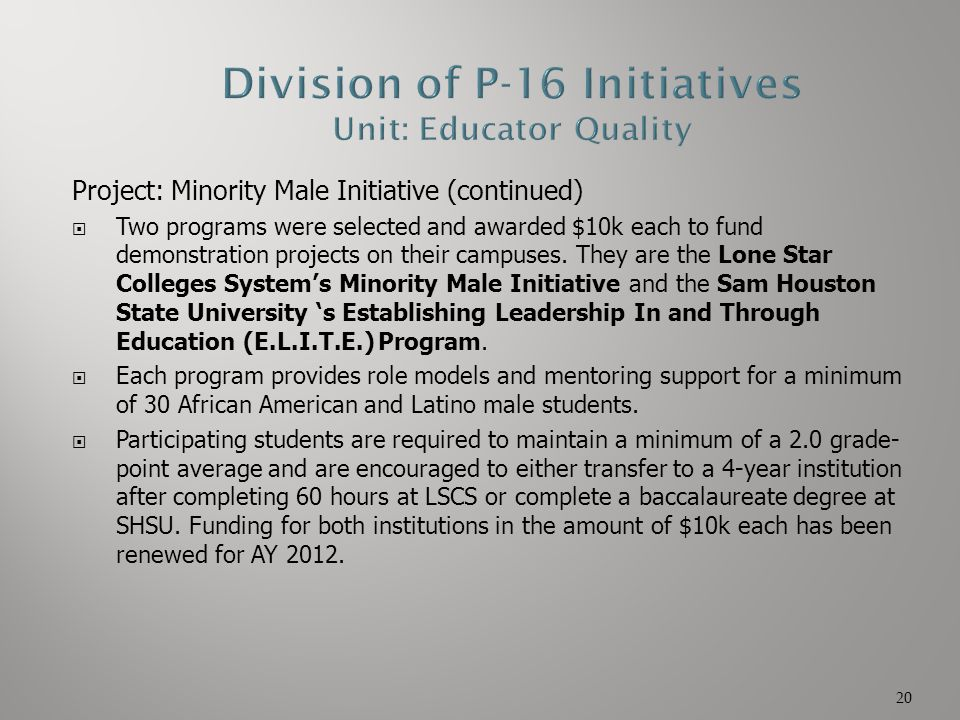 Project: Minority Male Initiative (continued)  Two programs were selected and awarded $10k each to fund demonstration projects on their campuses. The