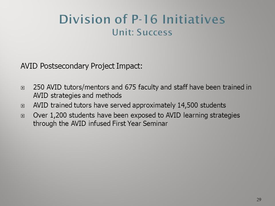 AVID Postsecondary Project Impact:  250 AVID tutors/mentors and 675 faculty and staff have been trained in AVID strategies and methods  AVID trained