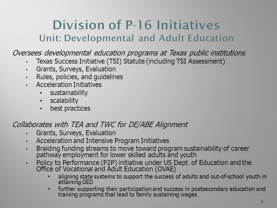 Oversees developmental education programs at Texas public institutions Texas Success Initiative (TSI) Statute (including TSI Assessment) Grants, Surve