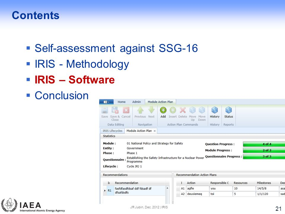 Contents  Self-assessment against SSG-16  IRIS - Methodology  IRIS – Software  Conclusion JR Jubin, Dec.