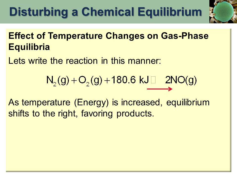 Effect of Temperature Changes on Gas-Phase Equilibria Lets write the reaction in this manner: As temperature (Energy) is increased, equilibrium shifts